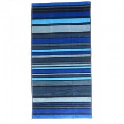 Serviette de plage rayée bleue et noire