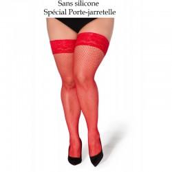 Christina bas pour porte-jarretelle résille rouge XTra Size