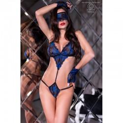 Body mitaines et masque dentelle bleue