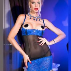 Nuisette seins nus dentelle bleue