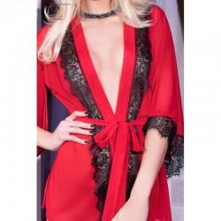 Kimono dentelle rouge