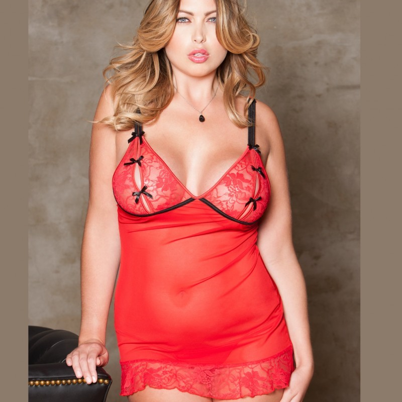 Nuisette voile rouge Grande Taille