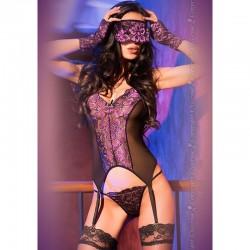 Guêpière, gants et masque dentelle violette