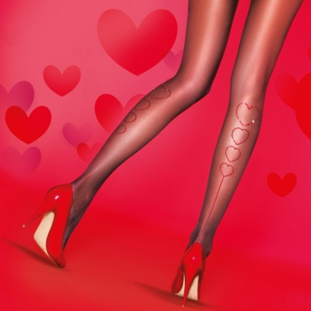 Collants coeurs strass
