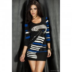 Robe noir imprimé bleu