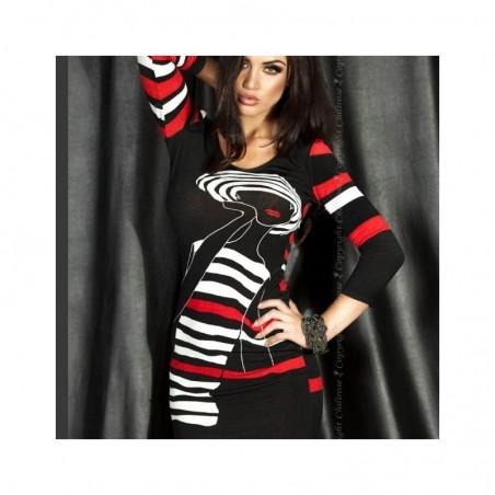 Robe noir imprimé rouge