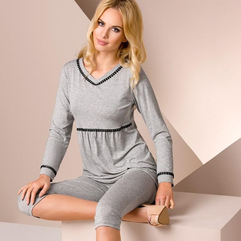 Pyjama court gris