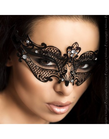 Masque noir en métal avec strass