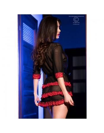 Kimono à volants rouge et noir