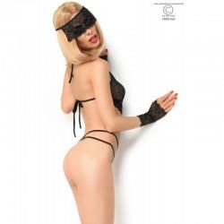 Body noir avec mitaines et masque