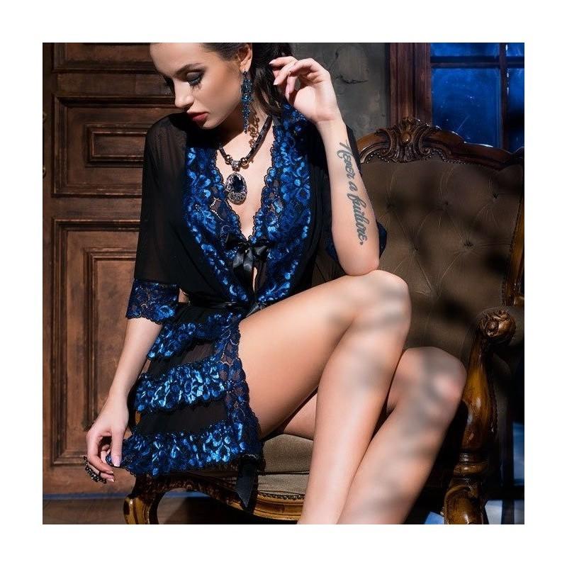 Kimono noir dentelle bleue