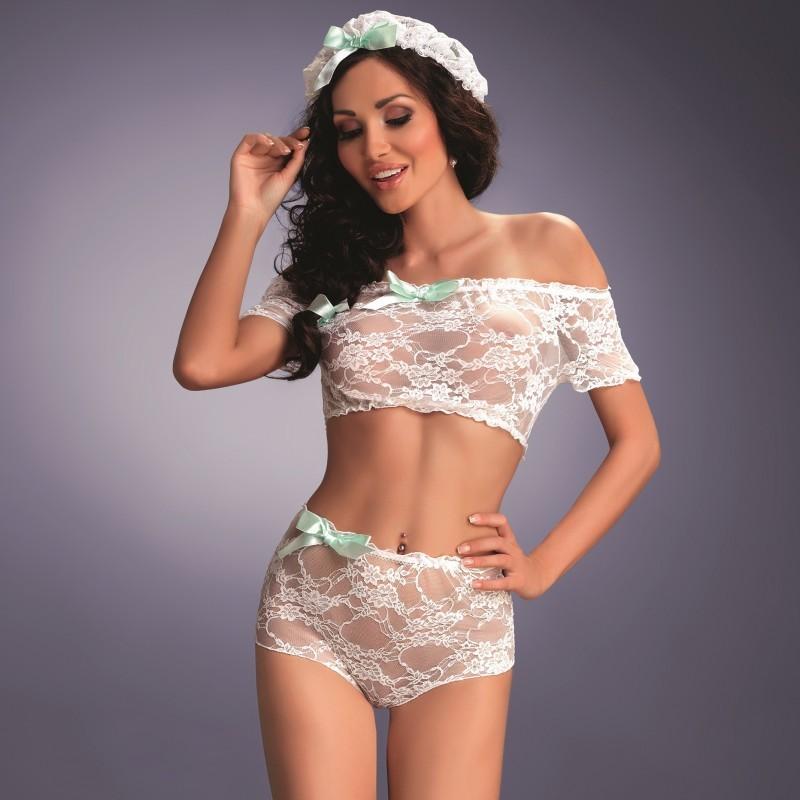 Camila soubrette en dentelle blanche