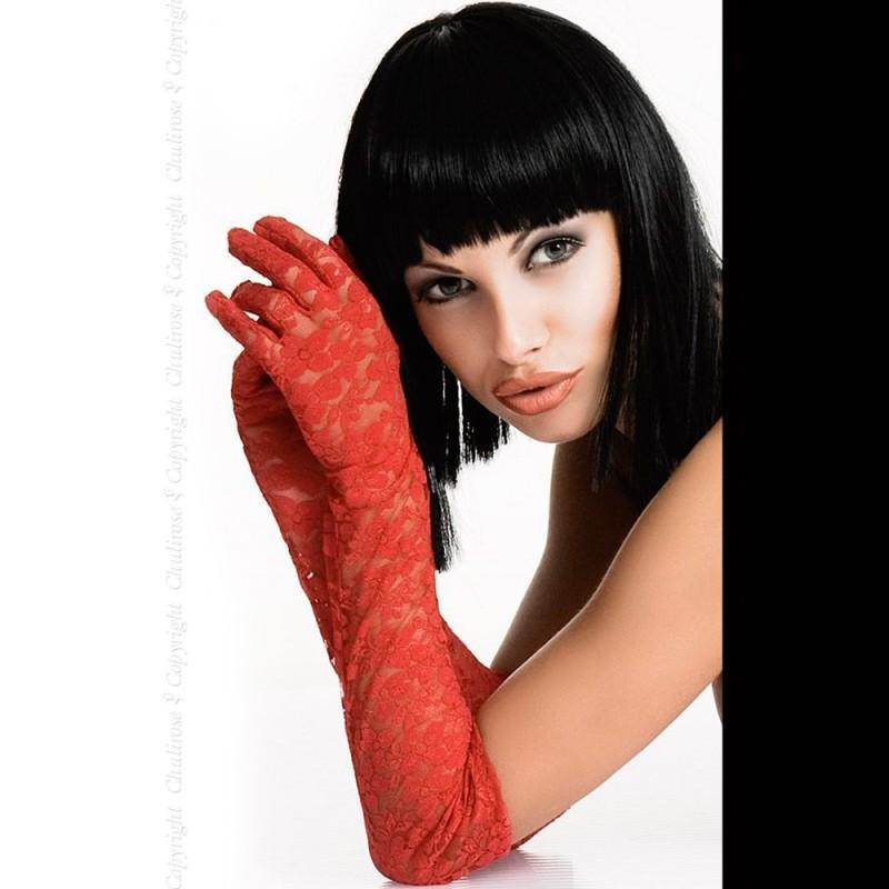 Gants dentelle rouge